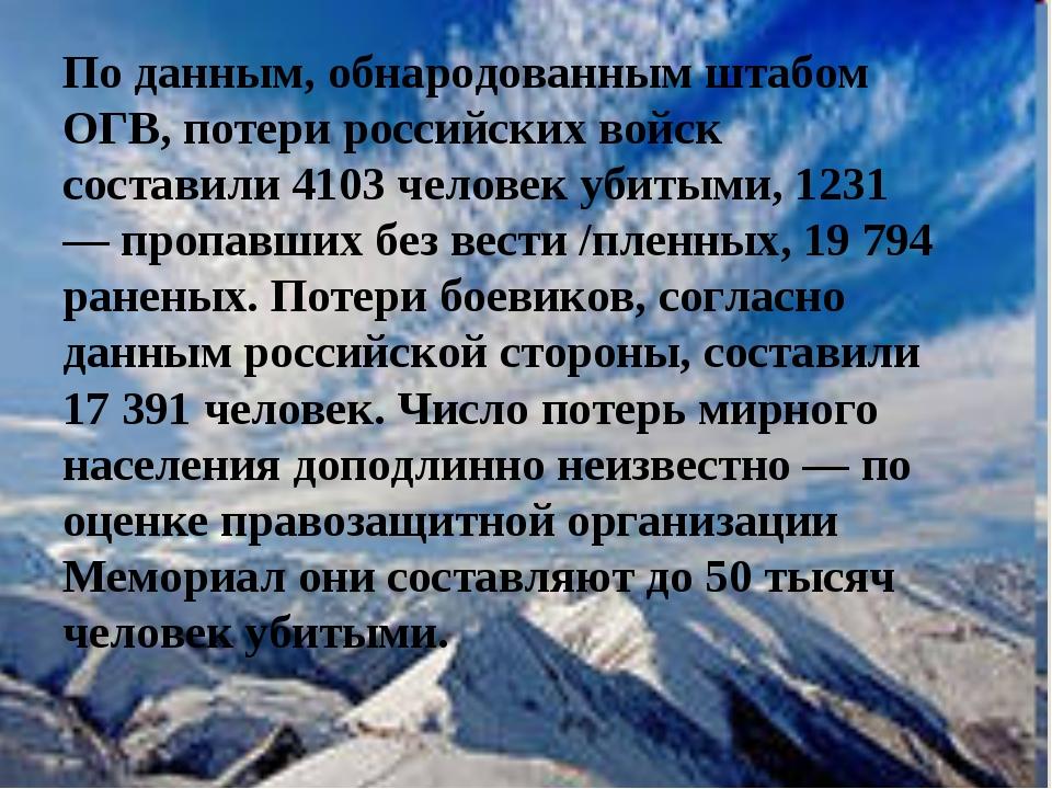 По данным, обнародованным штабом ОГВ, потери российских войск составили 4103...