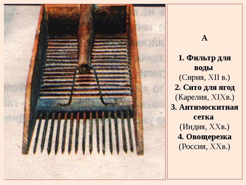 A 1. Фильтр для воды (Сирия, XII в.) 2. Сито для ягод (Карелия, XIXв.) 3. Ант...