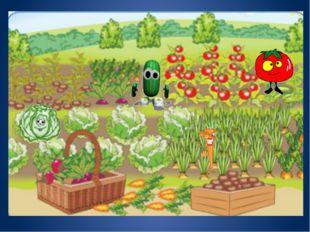 Детские рисунки огорода с грядками овощами