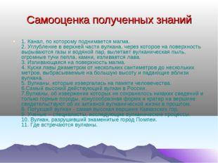 Самооценка полученных знаний 1. Канал, по которому поднимается магма. 2. Углу