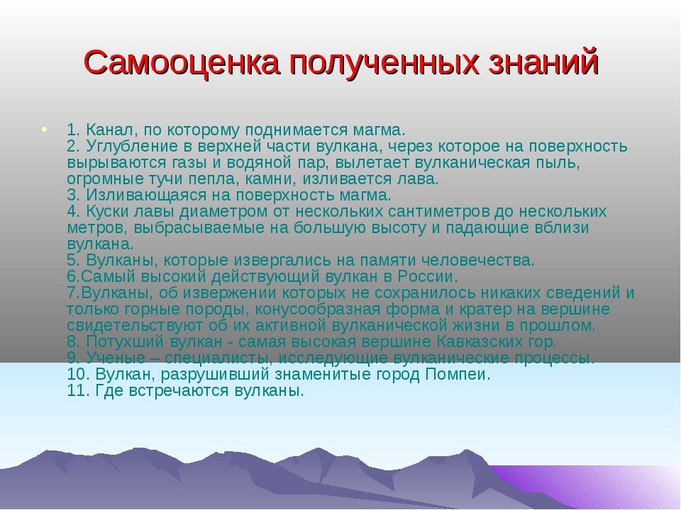 Самооценка полученных знаний 1. Канал, по которому поднимается магма. 2. Углу...