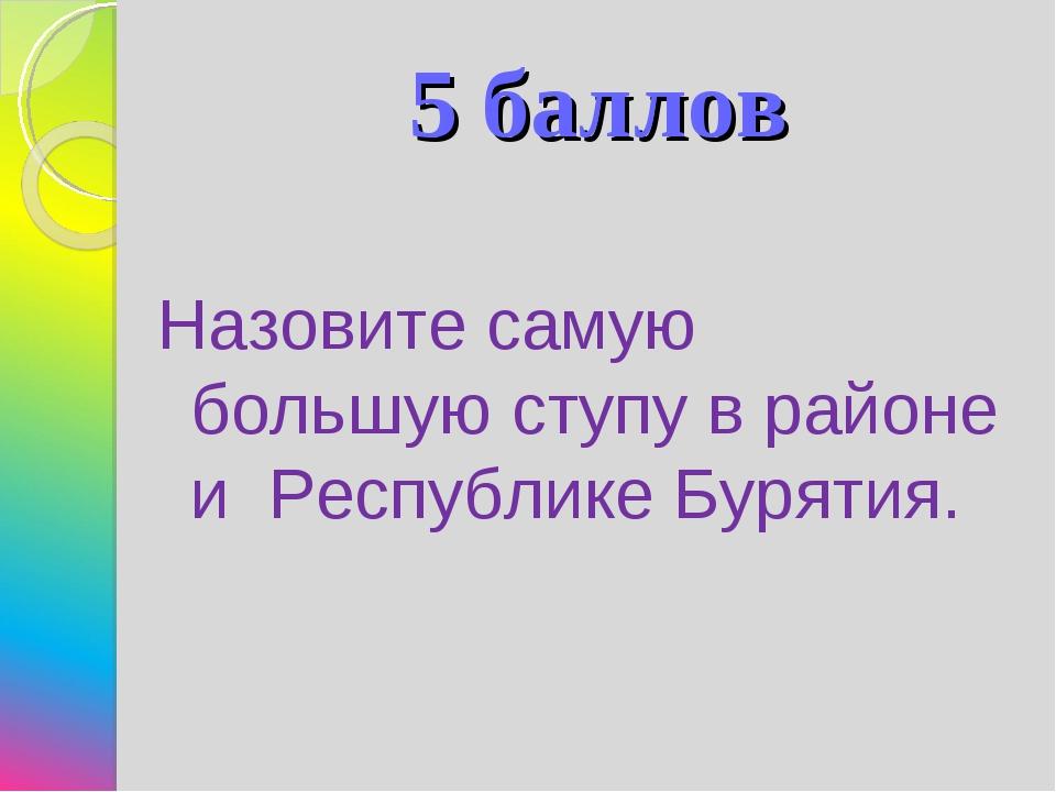 5 баллов Назовите самую большую ступу в районе и Республике Бурятия.