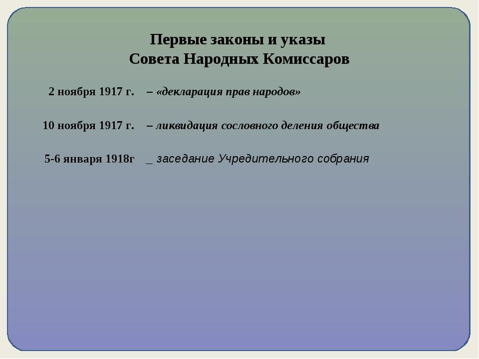 Первые законы и указы Совета Народных Комиссаров 2 ноября 1917 г. – «деклара...