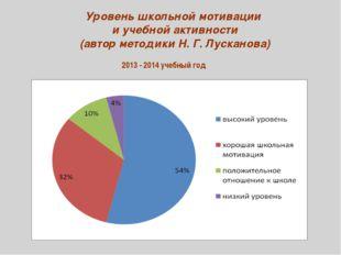 2013 - 2014 учебный год Уровень школьной мотивации и учебной активности (авто