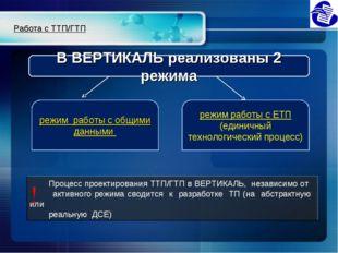 Процесс проектирования ТТП/ГТП в ВЕРТИКАЛЬ, независимо от активного режима с