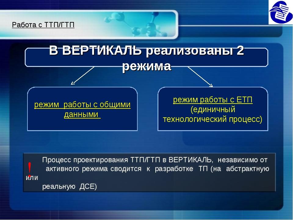 Процесс проектирования ТТП/ГТП в ВЕРТИКАЛЬ, независимо от активного режима с...