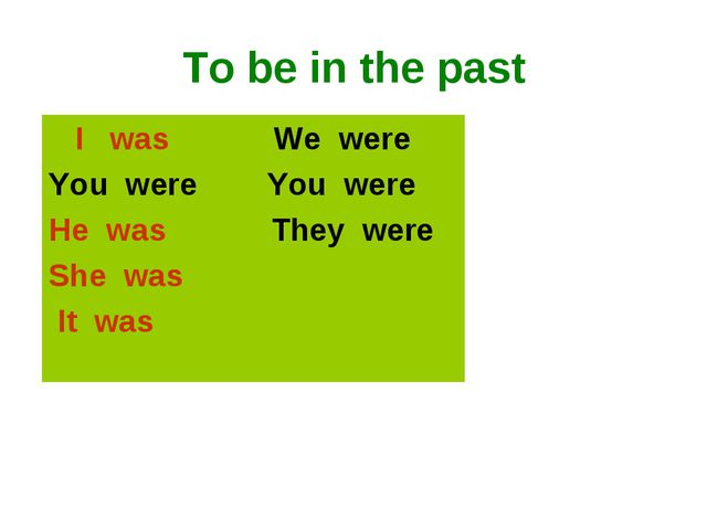 To be in the past I was We were You were You were He was They were She was It...