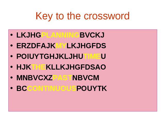 Key to the crossword LKJHGPLANNINGBVCKJ ERZDFAJKMYLKJHGFDS POIUYTGHJKLJHUTIME...