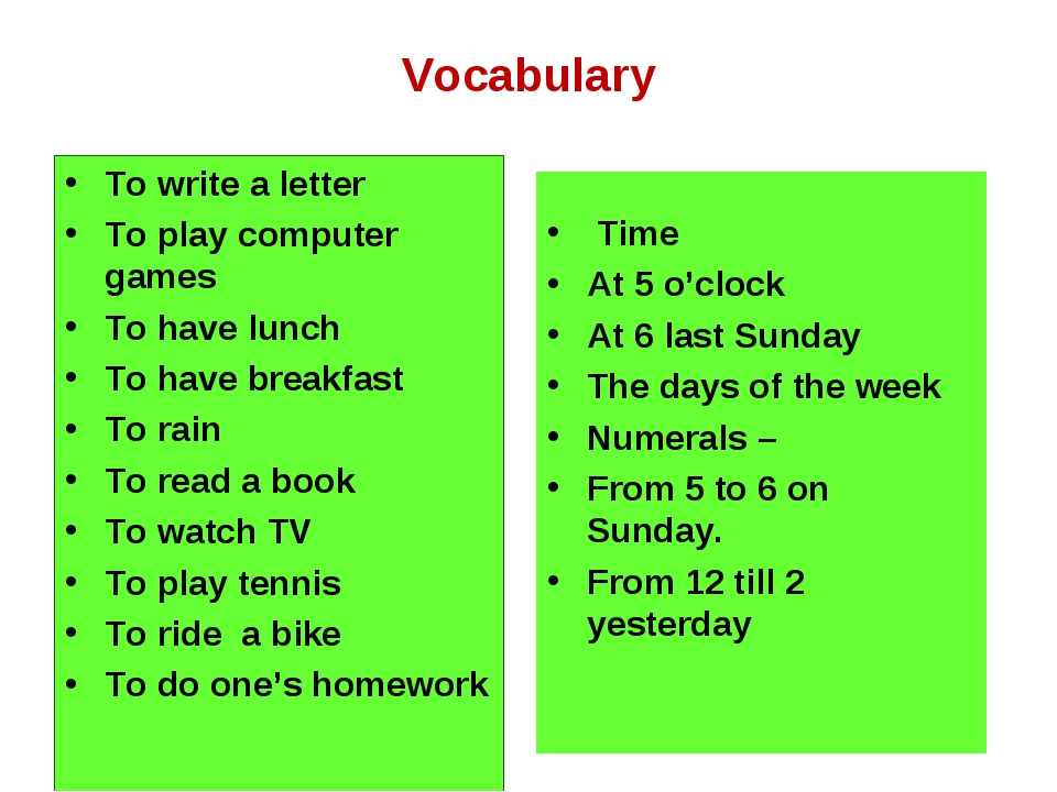 Vocabulary To write a letter To play computer games To have lunch To have bre...