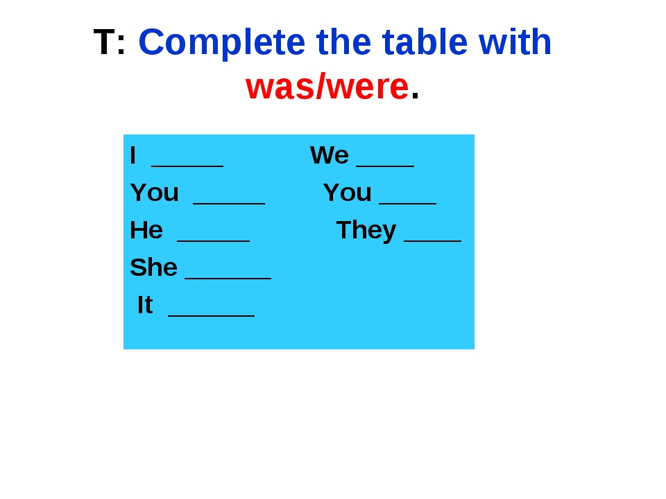 T: Complete the table with was/were. I _____ We ____ You _____ You ____ He __...
