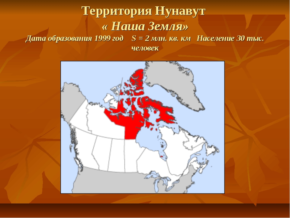 Территория Нунавут « Наша Земля» Дата образования 1999 год S = 2 млн. кв. км...
