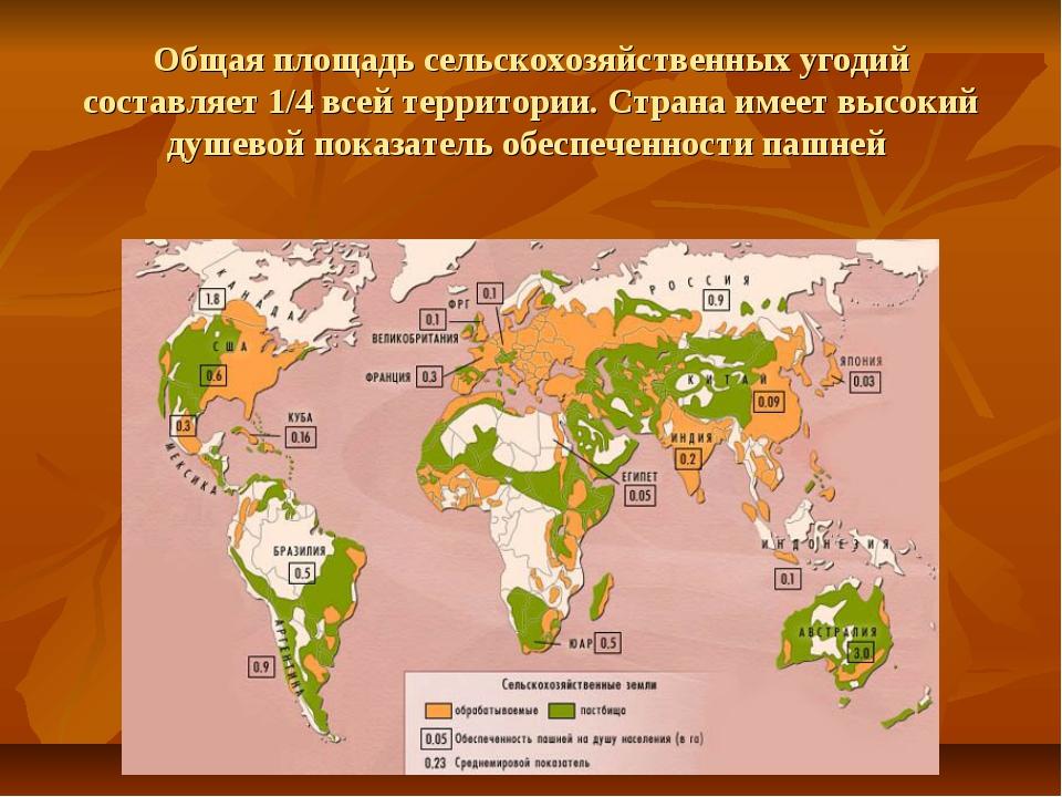 Общая площадь сельскохозяйственных угодий составляет 1/4 всей территории. Стр...