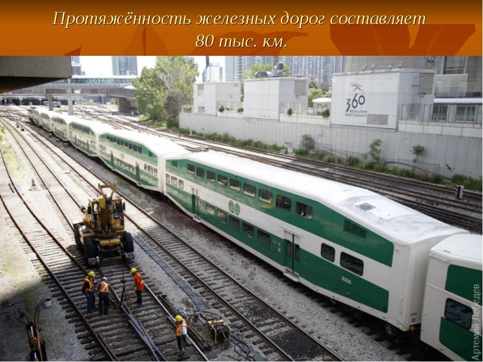 Протяжённость железных дорог составляет 80 тыс. км.