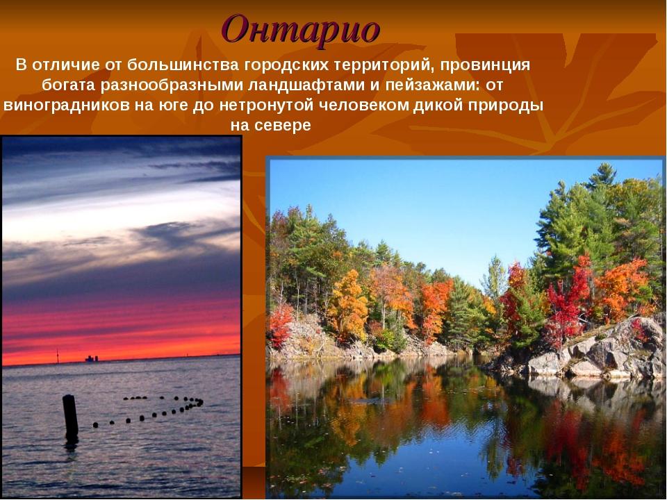 Онтарио В отличие от большинства городских территорий, провинция богата разно...