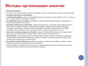 Методы организации занятия репродуктивный; словесные методы обучения: лекция,