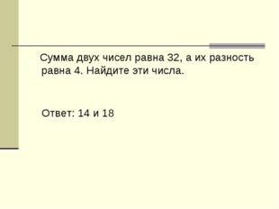 Сумма двух чисел равна 32, а их разность равна 4. Найдите эти числа. Ответ: