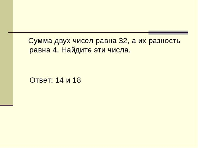 Сумма двух чисел равна 32, а их разность равна 4. Найдите эти числа. Ответ:...
