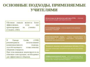 ОСНОВНЫЕ ПОДХОДЫ, ПРИМЕНЯЕМЫЕ УЧИТЕЛЯМИ Обучение языкам является более эффект