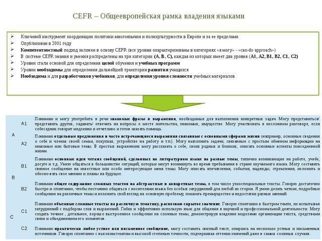 CEFR – Общеевропейская рамка владения языками Ключевой инструмент координации...