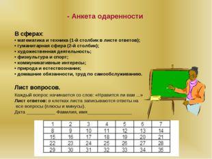 - Анкета одаренности В сферах: • математика и техника (1-й столбик в листе от