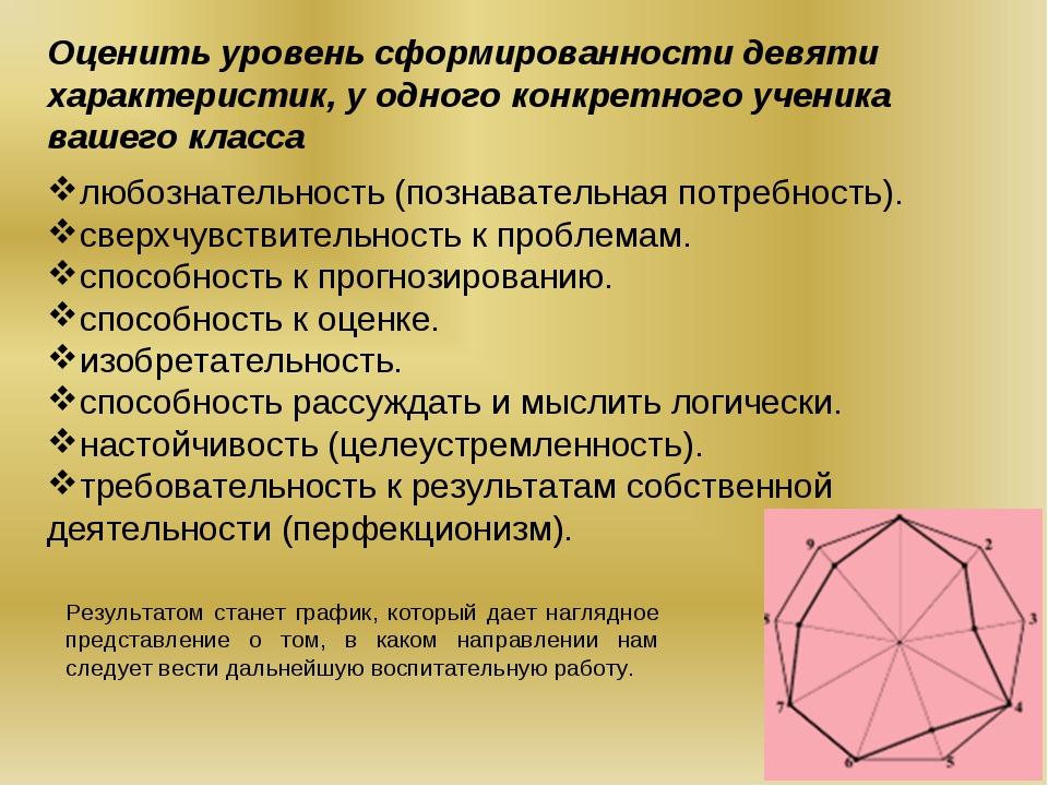 Оценить уровень сформированности девяти характеристик, у одного конкретного у...