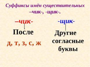 Суффиксы имён существительных –чик-, -щик-. –чик- После д, т, з, с, ж -щик- Д