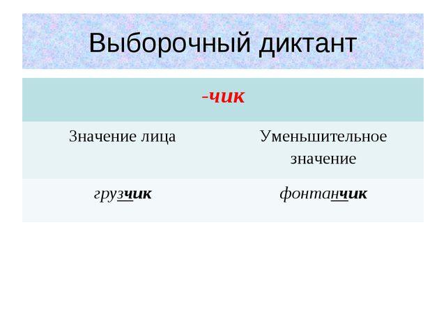 Выборочный диктант -чик Значение лицаУменьшительное значение грузчикфонтан...