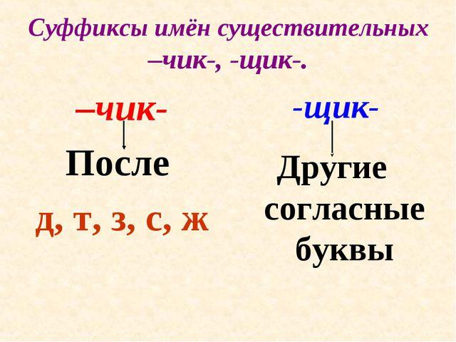 Суффиксы имён существительных –чик-, -щик-. –чик- После д, т, з, с, ж -щик- Д...