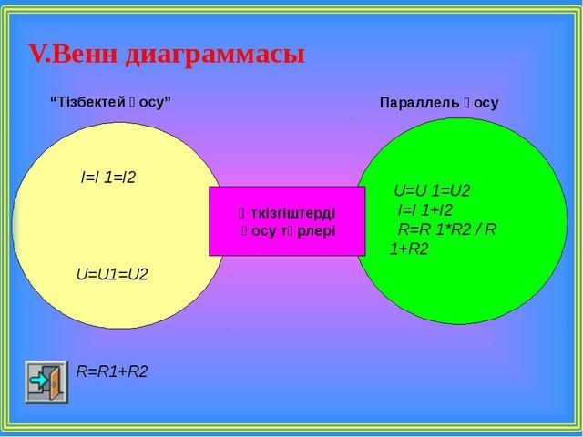 """V.Венн диаграммасы Өткізгіштерді қосу түрлері """"Тізбектей қосу"""" Параллель қосу..."""