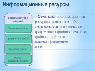Информационные ресурсы Система информационных ресурсов включает в себя подсис