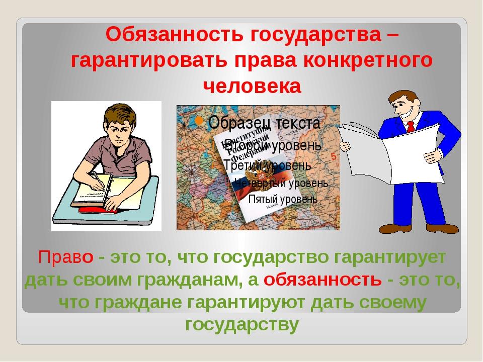 Обязанность государства – гарантировать права конкретного человека Право - э...