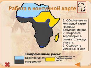 1. Обозначьте на контурной карте границы размещения рас 2. Закрасьте территор