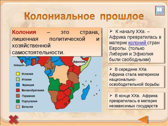 К началу XXв. – Африка превратилась в материк колоний стран Европы. (только...