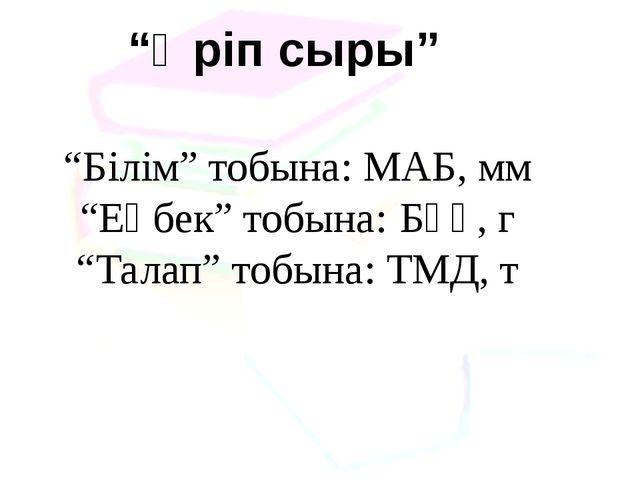 """""""Әріп сыры"""" """"Білім"""" тобына: МАБ, мм """"Еңбек"""" тобына: БҰҰ, г """"Талап"""" тобына: Т..."""