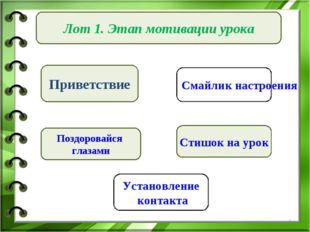 Лот 1. Этап мотивации урока Приветствие Стишок на урок Поздоровайся глазами *
