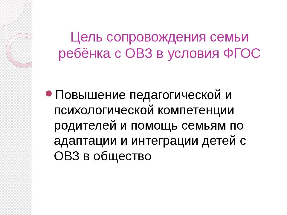 Цель сопровождения семьи ребёнка с ОВЗ в условия ФГОС Повышение педагогическо...