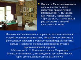 Именно в Мелихово возникли образы и сюжеты таких известных драматических про