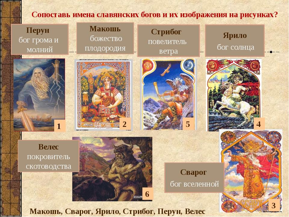 Сопоставь имена славянских богов и их изображения на рисунках? Ярило бог солн...