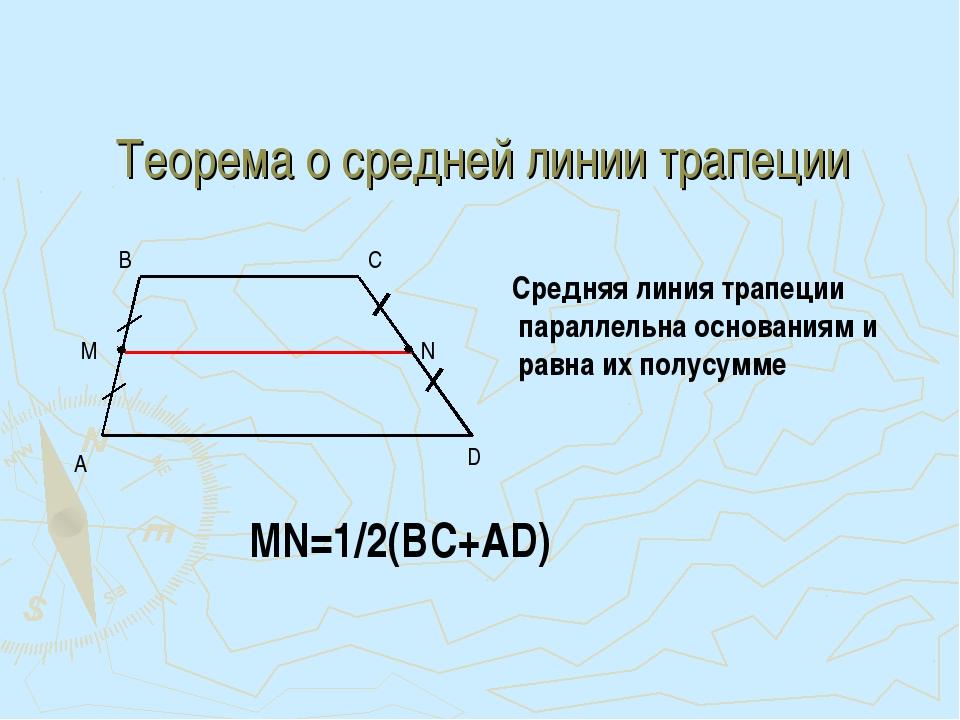 Теорема о средней линии трапеции A D B C Средняя линия трапеции параллельна о...