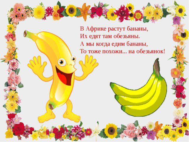 В Африке растут бананы, Их едят там обезьяны. А мы когда едим бананы, То тоже...