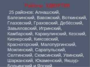 Районы УДМУРТИИ 25районов: Алнашский, Балезинский, Вавожский, Воткинский, Гл