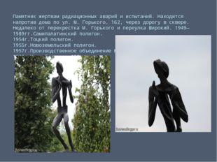 Памятник жертвам радиационных аварий и испытаний. Находится напротив дома по