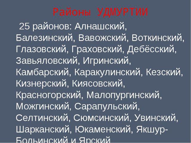 Районы УДМУРТИИ 25районов: Алнашский, Балезинский, Вавожский, Воткинский, Гл...
