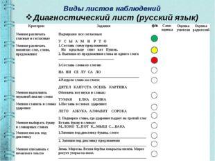 Виды листов наблюдений Диагностический лист (русский язык) Критерии Задания