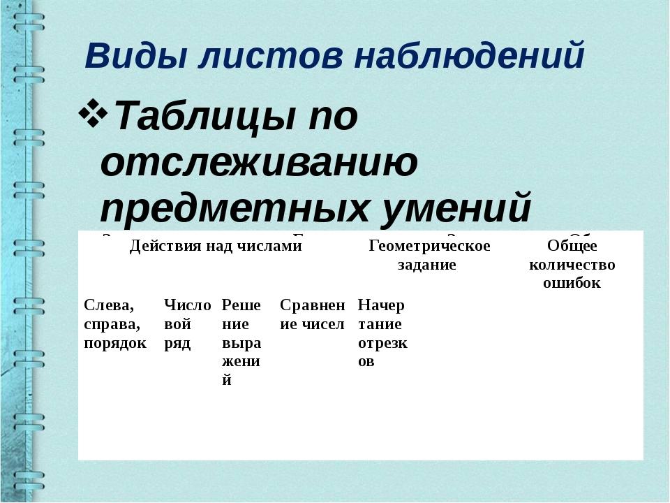 Виды листов наблюдений Таблицы по отслеживанию предметных умений Запись под д...