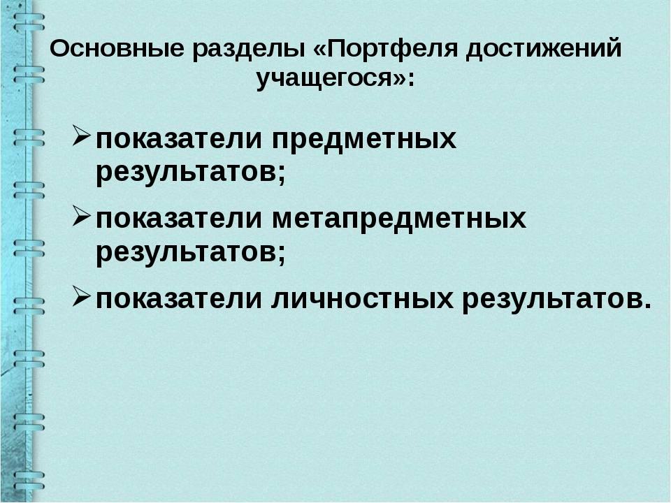 Основные разделы «Портфеля достижений учащегося»: показатели предметных резул...