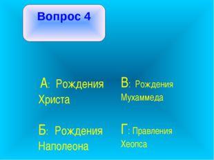 Вопрос 4 А: Рождения Христа В: Рождения Мухаммеда Б: Рождения Наполеона  Г