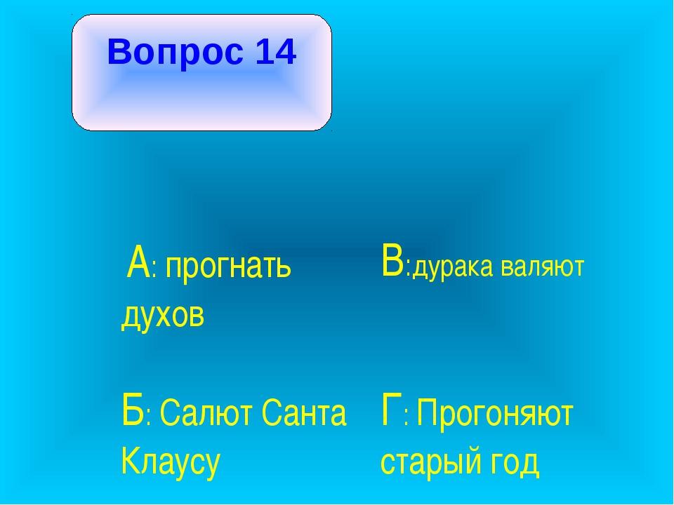 Вопрос 14 А: прогнать духов В:дурака валяют Б: Салют Санта Клаусу Г: Прого...
