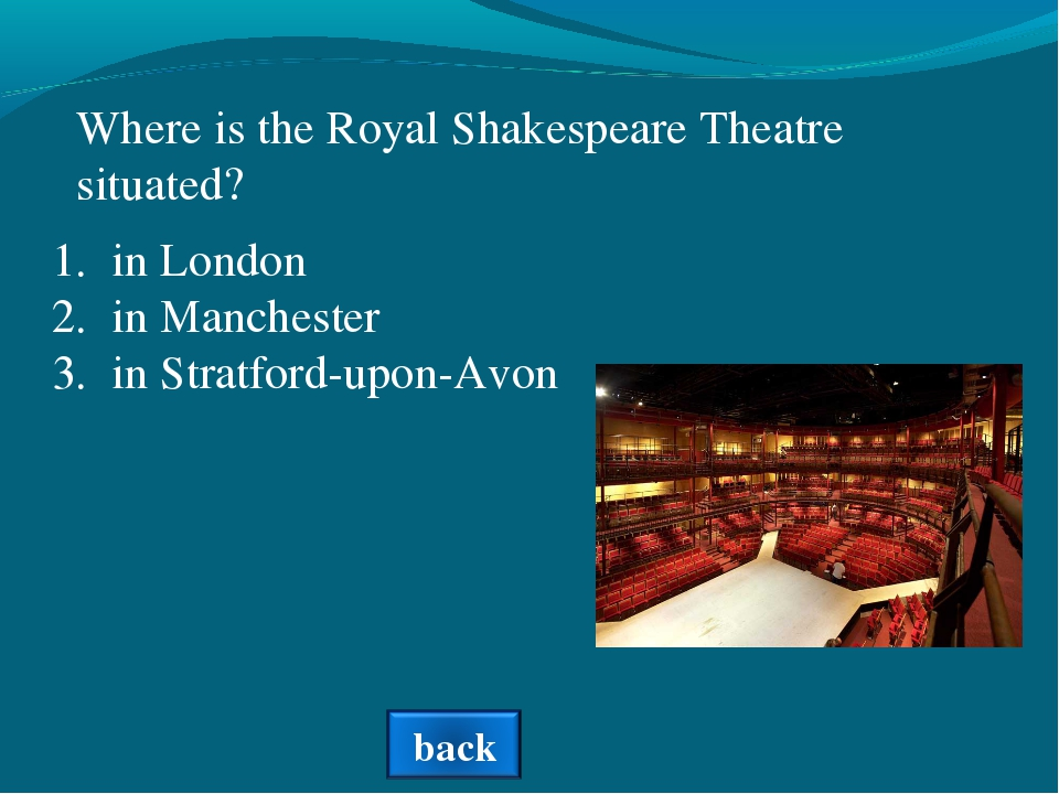 Where is the Royal Shakespeare Theatre situated? in London in Manchester in S...
