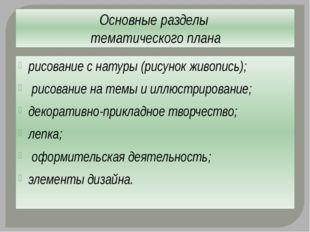 Основные разделы тематического плана рисование с натуры (рисунок живопись); р